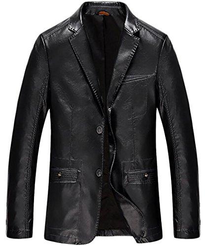 Mens 2 Button Leather Blazer - 7