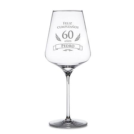 AMAVEL Copa de Vino Tinto para el 60 Cumpleaños Personalizada Feliz Cumpleaños Copa de Cristal Capacidad 644 ml