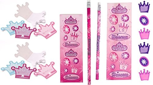 Princess party set - pencils, erasers, stickers and notepads - Princess Stationary
