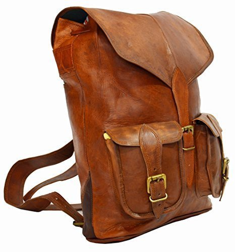 GOATSTUFF LEATHER HANDMADE VINTAGE STYLE BACKPACK/ COLLAGE/ - Number Fedex Priority Tracking