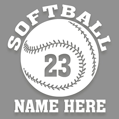 (Personalized Softball 1 Color Vinyl Decal Custom Name and Number 5.5