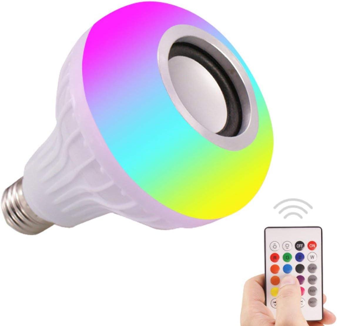 Ballylelly Smart Music Light Bulb Led Colorido Altavoz Bombilla E27 Control remoto inalámbrico Bombilla de audio 12W 220V RGB Bombilla Luz Reproductor de música