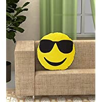 Plush Feeling Google Decorative Smiley Pillow Cushions (Yellow) -Pack of 1