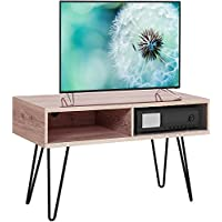 Topeakmart 42 Inch Retro TV Stand with Metal Hairpin Legs in Oak