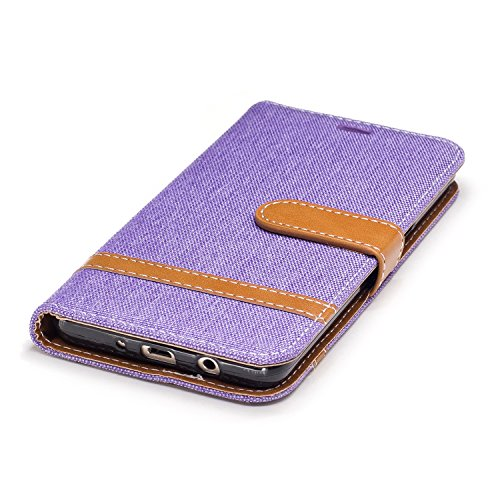 Para Samsung Galaxy J5 (2016) SM-J510F funda, (Vaquero negro) Dril de algodón de colores mezclados caja del teléfono móvil de cuero PU Leather cubierta Función de Soporte Billetera con Tapa para Tarje Cowboy púrpura