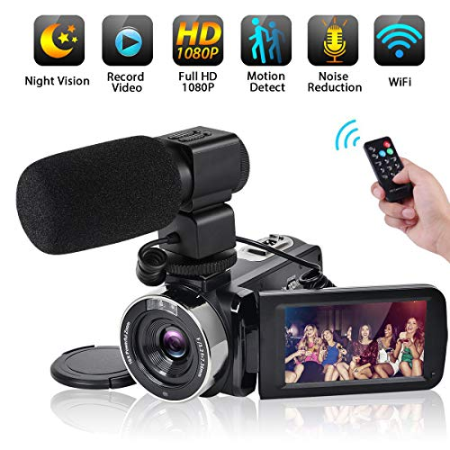(Video Camera WiFi Camcorder Comkes Full HD 1080P 30FPS Vlogging Camera 24MP 16X Digital Zoom 3.0 Inch LCD Touch Screen IR Night Vision with External Microphone and Remote Control)