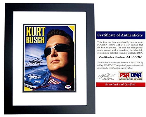 Kurt Busch Signed - Autographed Nascar Driver - #2 Miller Lite 8x10 inch Photo - BLACK CUSTOM FRAME - PSA/DNA Certificate of Authenticity (COA)
