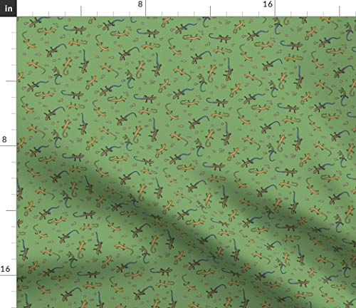 Lizard Fabric - Ditsy Skinks Reptile Blue Tailed Skink Backyard Animal Reptiles Woodland Print on Fabric by The Yard - Sport Lycra for Swimwear Performance Leggings Apparel Fashion