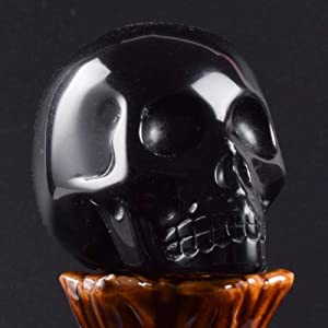 GCP 2 Inch Handmade Natural Stone Skull Figurine Carved Crystal Statue Realistic Feng Shui Healing Home Ornament Art Collectible, Obsidian