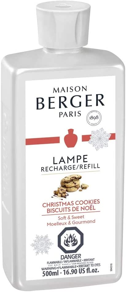 Lampe Berger Christmas Cookies Fragrance Refill for Home Fragrance Oil Diffuser | Purifying and perfuming Your Home | 16.9 Fluid Ounces - 500 milliliters | Made in France