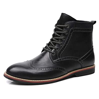 6ec553fe919 Amazon.com | Ruiatoo Men's Ankle Boot Casual Leather Lace Up Wing ...