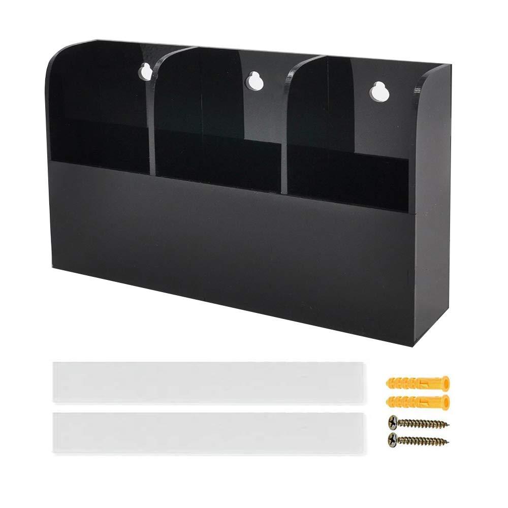 joyjorya Media Organizer Office Supplies Storage 3 Compartments Black- TV Remote Control Holder Wall Mount (The 2nd Generation(6.2+8.7+6.2cm)