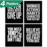 Motivational Quote Workout Gym Posters - 8' x 10' - Set of 4 - Classroom Office Wall Art Decals - Inspirational Teen Boy Girl Fitness Success Sports Goal Hard Work Decor - Adhesive Black Finish