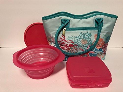 Tupperware 3pc Treasures of the Sea Lunch Bag Set Sandwich Keeper Square