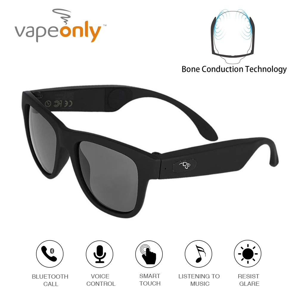 Bone Conduction Bluetooth Glasses Wireless Bluetooth Headphones Sunglasses sweatproof Waterproof Sports Headset iOS Android (Black)