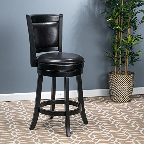 Davis Black Bonded Leather Swivel Backed Counter (Bonded Leather Stool)