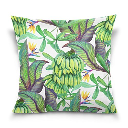 Double Sided Tropical Rainforest Banana Leaf Watercolor Banana Cotton Velvet Pillowcase 20x20 Inch Zippered Throw Pillow Case Cover Set Decorative