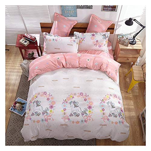 KFZ Girls Magic Unicorn Bed Set [4pcs Queen Size Bedding 78x91- Flat Sheet,Duvet Cover,2 Pillow Cases.No Comforter] Pink Princess Worthy Theme, Quality Microfiber,Soft Material for Skin-Friendly