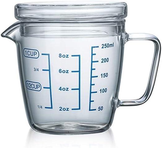 Compra onepine 250ml Taza de medición de Cristal con Tapa, Jarra ...