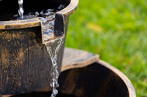 Alpine Corporation TIZ194BZ Alpine 2-Tier Rustic Pump Barrel Waterfall for Garden, Patio, Deck, Porch-Yard Art Decor Outdoor Water Fountain, Gray - BARREL FOUNTAIN: Garden water fountain is the perfect addition to your outdoor decor. Interior pump keeps the water flowing - just plug it in! RELAXING WATER FLOW: Water trickles from the pump spout into the barrel tiers, adding peaceful ambiance to your outdoor setting RUSTIC LOOK: Realistic faux wood barrels and pump head design for an old-fashioned western feel - patio, outdoor-decor, fountains - 51Fq5F2A20L -