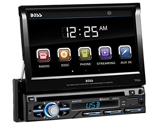 BOSS Audio Systems BV9979B Car DVD Player - Single Din, Bluetooth Audio & Hands-Free Calling, Multi-color Illumination, DVD, CD, MP3, USB, SD Aux-in, AM/FM Radio Receiver, 7 Inch LCD Touchscreen (Player Touch Car Screen Cheap Cd)
