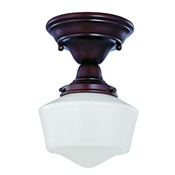 6 Inch Schoolhouse Ceiling Light In Bronze Finish