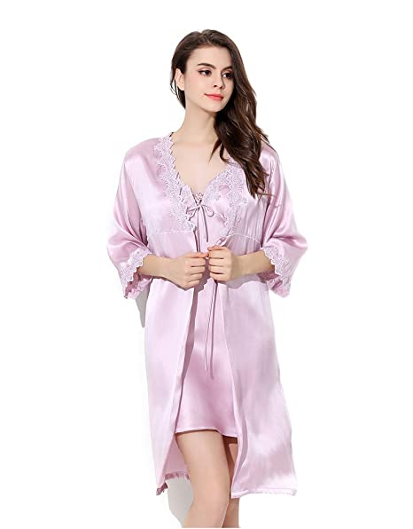 9bec19ab1337 CLC Women s Pure Mulberry Silk Pajama Set Lace Flower Nightgown Robe ...
