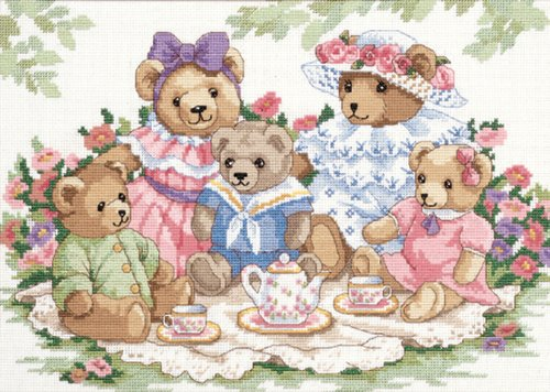 Teddy Tea Party 14x10 Dimensions Counted Cross Stitch