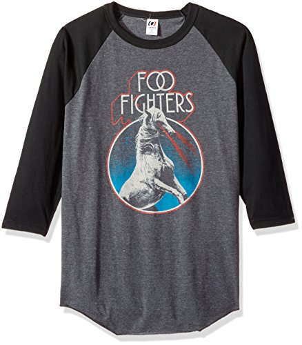 - FEA Foo Fighters Horse Circle Mens 3/4 Sleeve Raglan Shirt, Vintage Heather/Black, XX-Large