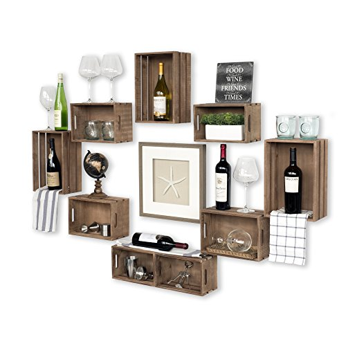 (Wallniture Rustic Wine Rack Storage Baskets Wall Mount Wooden Crates Walnut Set of 9)