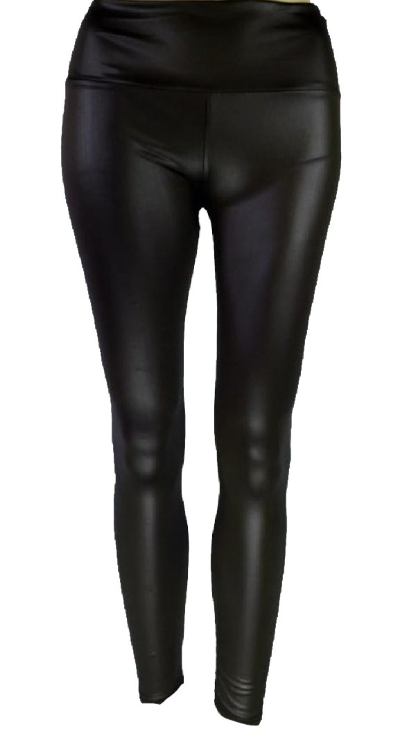 MLG Women Breathable Pull On Style Shaping Pu Leather Jeggings Black S