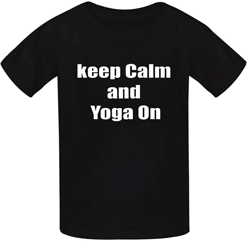 Keep Calm Yoga On T Shirt Cute Funny Boys and Girls Tee Top