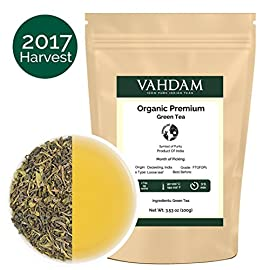 VAHDAM, Green Tea Leaves from Himalayas (50 Cups), 100% Natural Tea, POWERFUL ANTI-OXIDANTS, Brew Hot Tea, Iced Tea or Kombucha Tea, Green Tea Loose Leaf, 3.53oz 52 100% NATURAL & GREEN TEA LEAVES - Exclusive Long Leaf Green Tea rich with Natural Anti-Oxidants & Flavonoids. Hand-plucked & produced in high elevation tea plantations in the Himalayas. Discover the Taste of Purity with this loose tea. Low-Caffeine content tea which can be enjoyed anytime of the day. Unlike green tea organic, this loose leaf tea makes for a great detox cleanse tea. Vadham 100% NATURAL 14 DAY DETOX TEA -  Unlike popular 14 Day Detox Tea, 14 Day Cleanse, 14 Day Teabox Tea, 14 Day Teatox - VAHDAM Green Tea is the PUREST NATURAL DETOX tea with NO SIDE EFFECTS & no added ingredients, flavours. Drink 3 Cups of Tea Everyday & Feel the Difference. A BRAND WITH A BILLION DREAMS - Established in India by a 26-year-old, 4th generation Tea entrepreneur, Vahdam Teas is an award-winning, vertically integrated tea brand that door delivers the world's freshest tea leaves to over 83 countries, sourced directly from India's choicest tea gardens. The tea industry is one of the largest employers of manual labor in India. A successful home-grown brand helps empower millions of these tea workers in the long run.