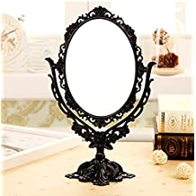 ToiM European Style Vintage Retro Portable Dressing Table Mirror Swivel Vanity Mirror, Double Sided Dressing Mirror for Dresser (Black)