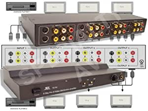 2 in x 6 out Composite RCA S-Video, Audio Distribution Amplifier Amp Splitter Matrix Distributor