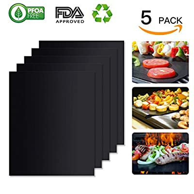 WINSEE BBQ Grill Mat Set of 5, Non-stick Cooking Mats FDA-Approved, PFOA Free, Reusable and Easy to Clean 15.75 X 13 Inch Black