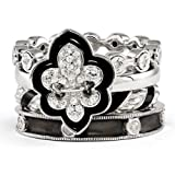 Sterling Silver Stackable Diamond & CZ Fleur de Lis Ring Set Size 6