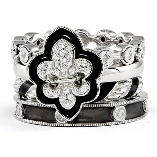 Sterling Silver Stackable Diamond & CZ Fleur de Lis Ring Set Size 6 by Stackable Expressions