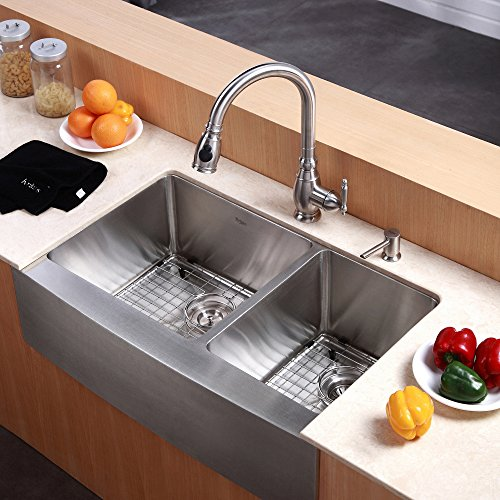 27 Inch Farmhouse Sink: Kraus KHF203-33 33 Inch Farmhouse Apron 60/40 Double Bowl