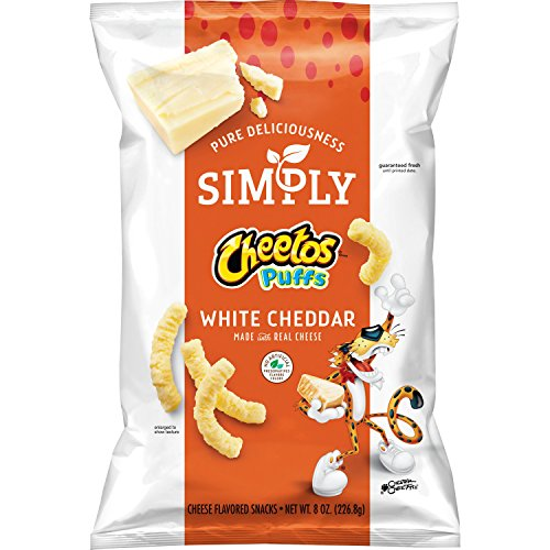Chips White Cheddar (Simply Cheetos Puffs White Cheddar Cheese Flavored Snacks, 8 Ounce)
