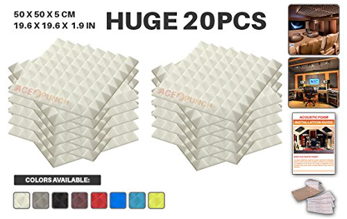 """Acepunch 20 Pack WHITE Pyramid Acoustic Foam Panel DIY Design Studio Soundproofing Wall Tiles Sound Insulation with Free Mounting Tabs 19.6"""" x 19.6"""" x 1.9"""" AP1034"""
