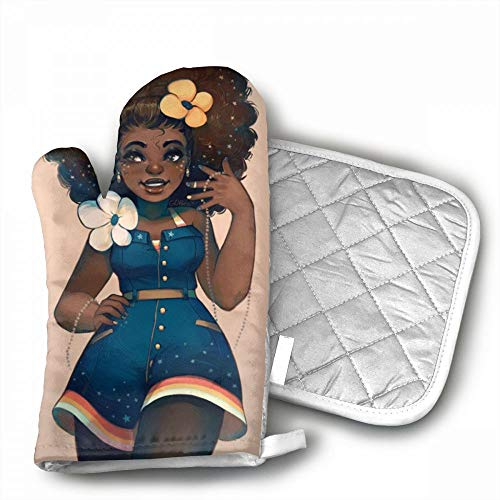 African American Sexy Women Oven Mitts,Professional Heat Res