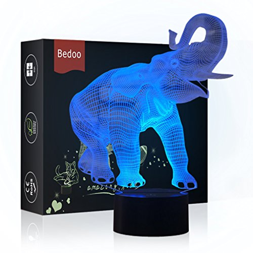 Echodream Christmas Gift Magic Elephant Lamp 3D Illusion Touch Switch USB Insert LED Light Birthday Present and Party Decoration, 7 Colours Night