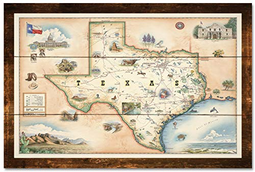 Texas Rustic Wood Art Print by Xplorer Maps (24