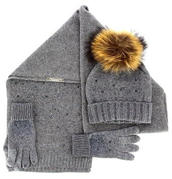 Charleselie94® - Pack écharpe bonnet gants laine pompon fourrure renard  gris DONALD c71bf1cb7a9