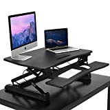 Adjustable Standing Desk, HANKEY 35 Inches Wide Sit Stand Desk Converter Ergonomic Workstation with Removable Keyboard Tray, 2 Tier Office Desk Stand with 12 Height Adjustment Levels, Black