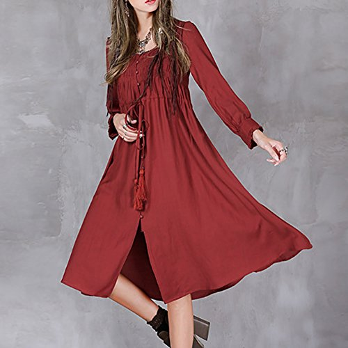 Valin LHA8181 Damen Langarm ALinie Maxi Retro Kleid Sommerkleid ...