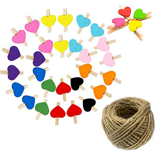 (OJYUDD 100PCS Photo Clips,Mini Colorful Wooden Clotheclips, Heart Craft Clips Photo Paper Peg for Party Decorations with 100 Feet Jute Twine)