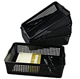 Saedy Black Plastic Basket Trays for Files, Letters, Documents (4 Packs)