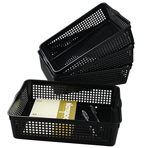 Saedy Black Plastic Basket Trays for Files, Letters, Documents (4 Packs) by Saedy